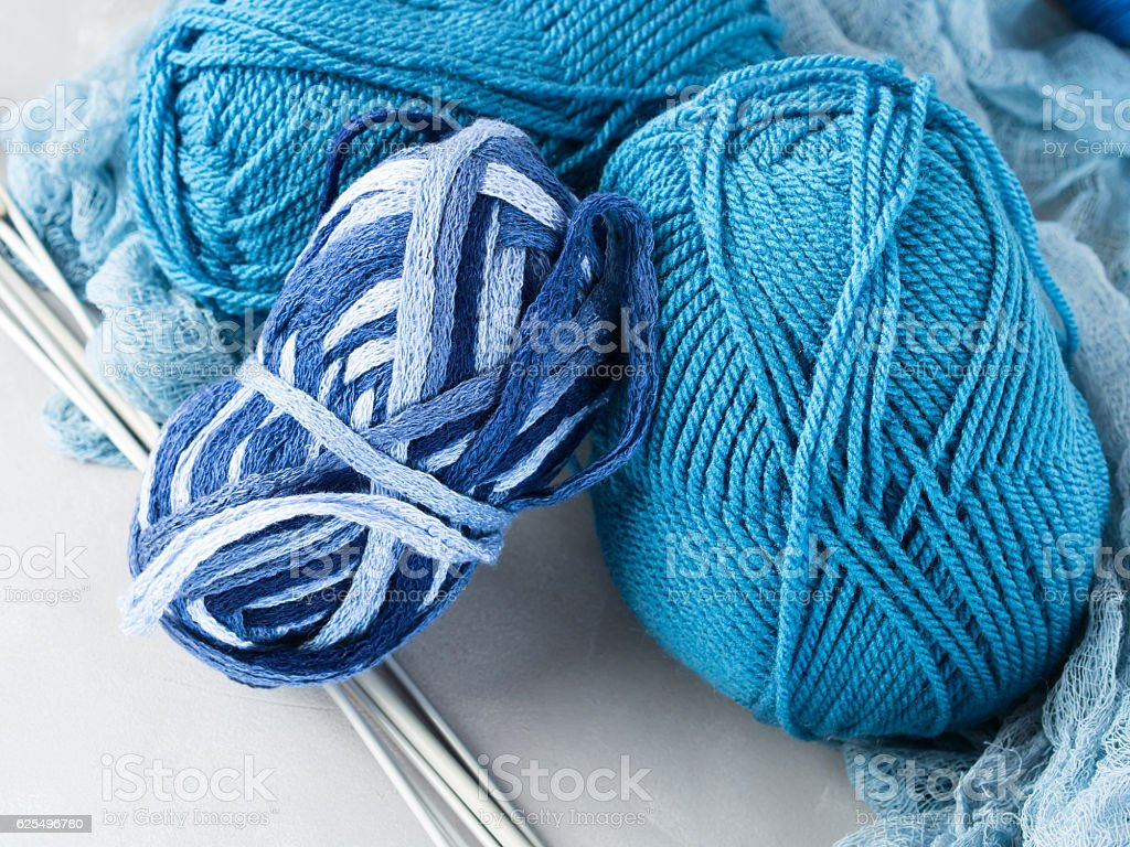 Winter color wool yarn with knitting needles stock photo