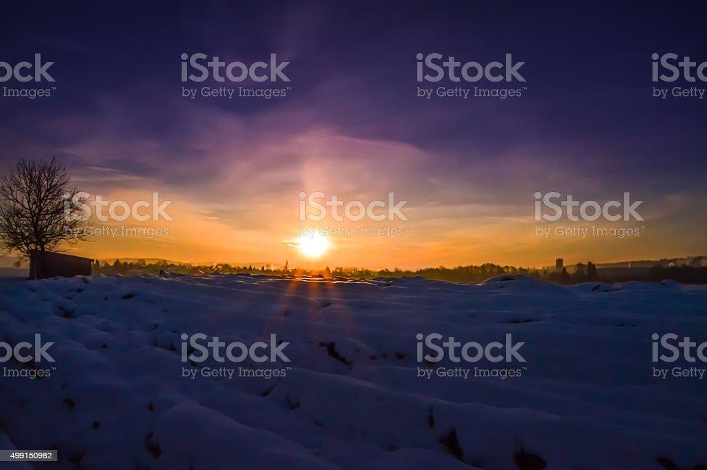 Winter colorful sunrise stock photo