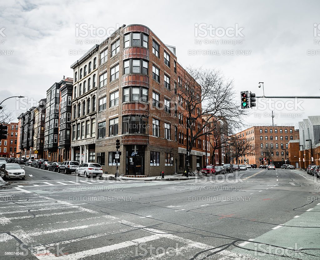 Winter Commercial Street in The North End district of Boston stock photo
