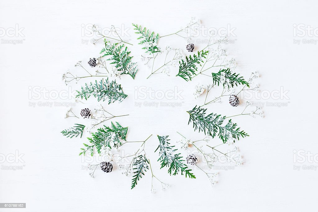 Winter composition. Flat lay, top view stock photo