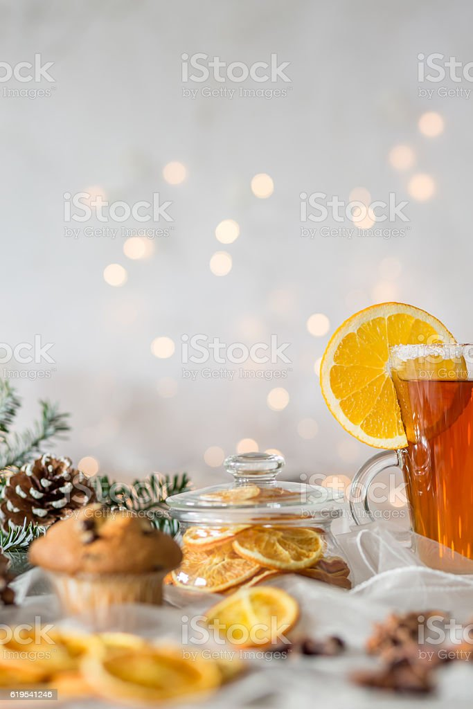 Winter composition with dried orange stock photo
