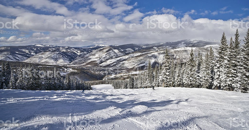 Winter Coniferous Forest Covered by Snow with Skiing Slopes royalty-free stock photo