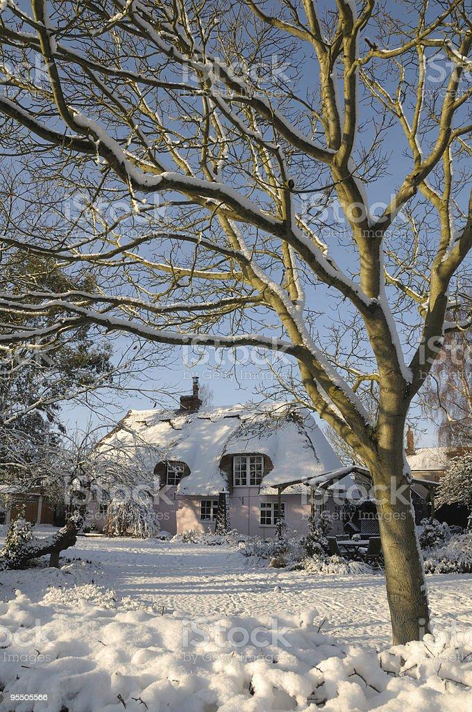 Winter cottage stock photo
