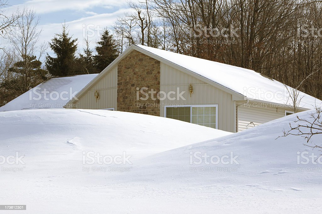 Winter country home stock photo
