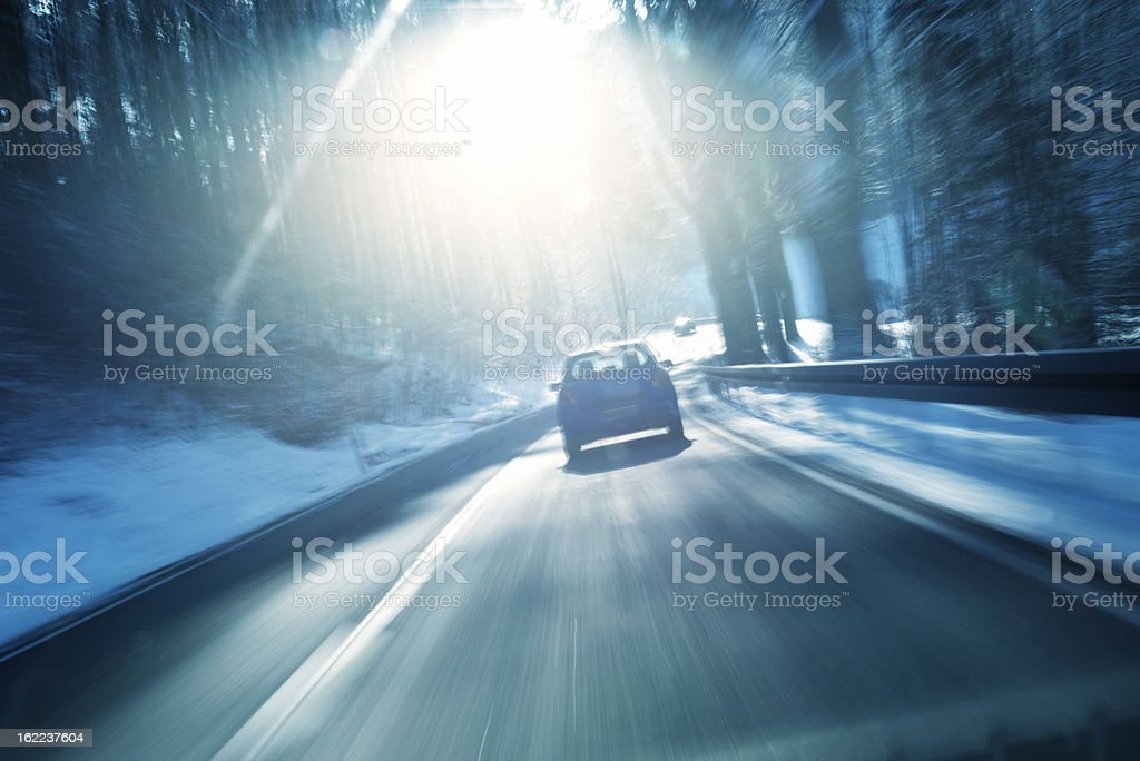 Winter, Country Road, Bundesstrasse, Germany stock photo