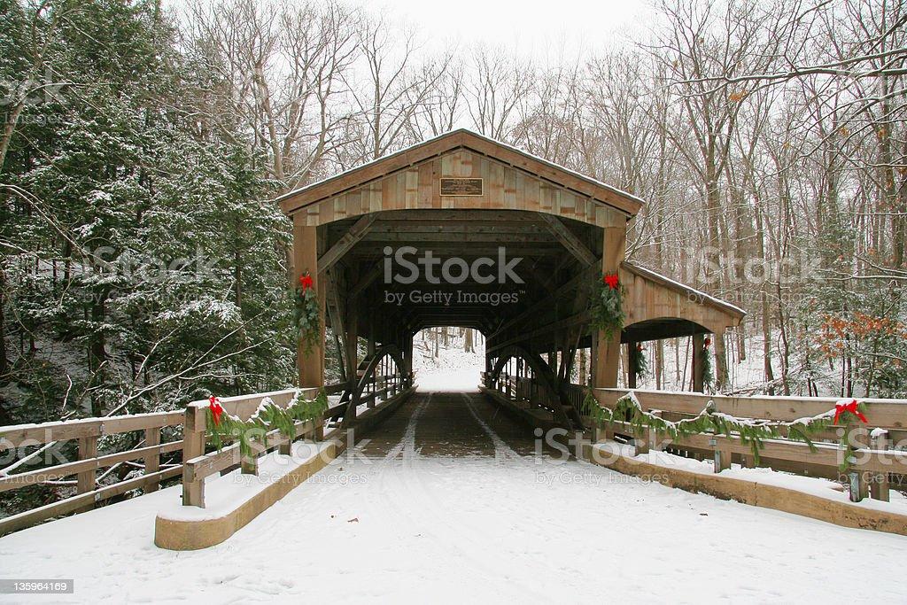 Winter Covered Bridge 1 - Youngstown, Ohio stock photo