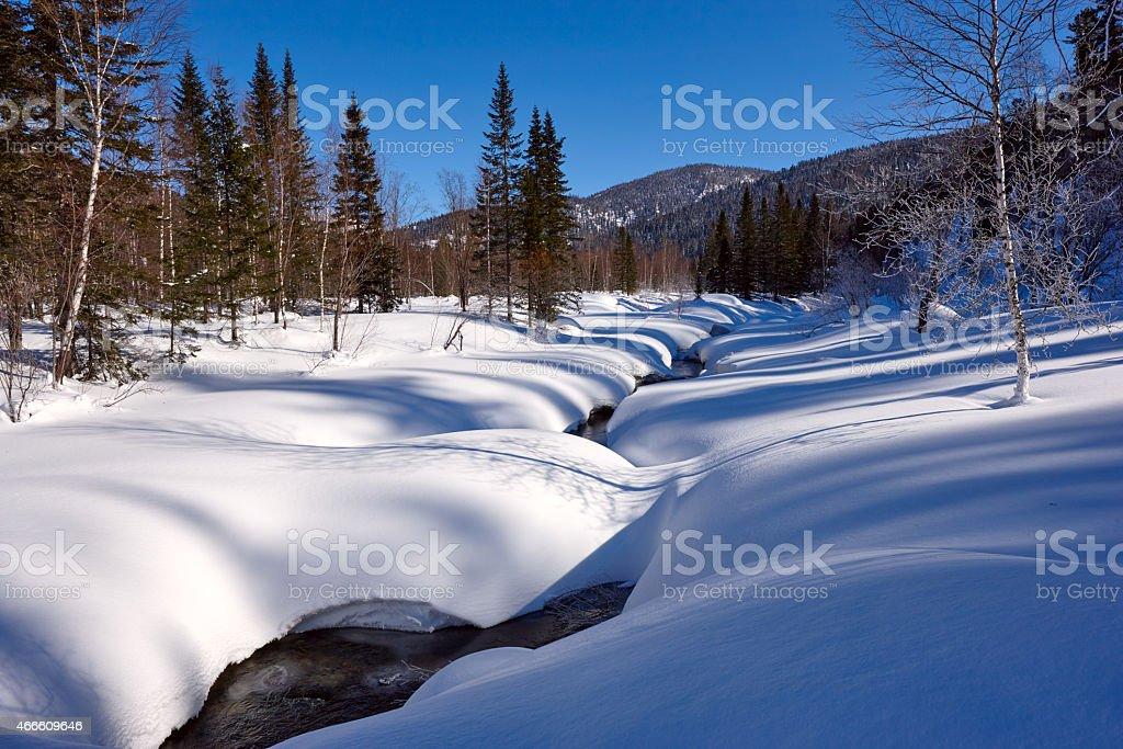 Winter creek panorama stock photo