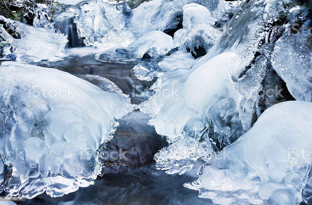 Winter creek stock photo
