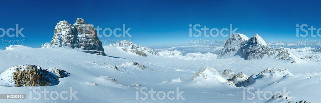 Winter Dachstein mountain massif panorama. stock photo