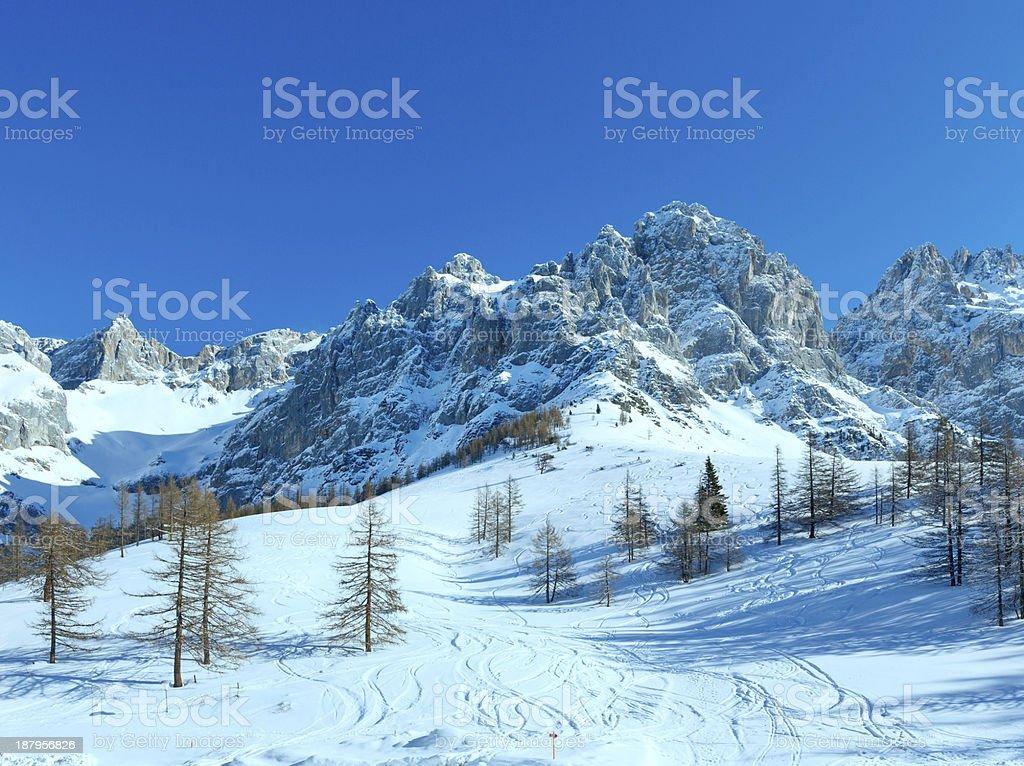 Winter Dachstein mountain massif stock photo