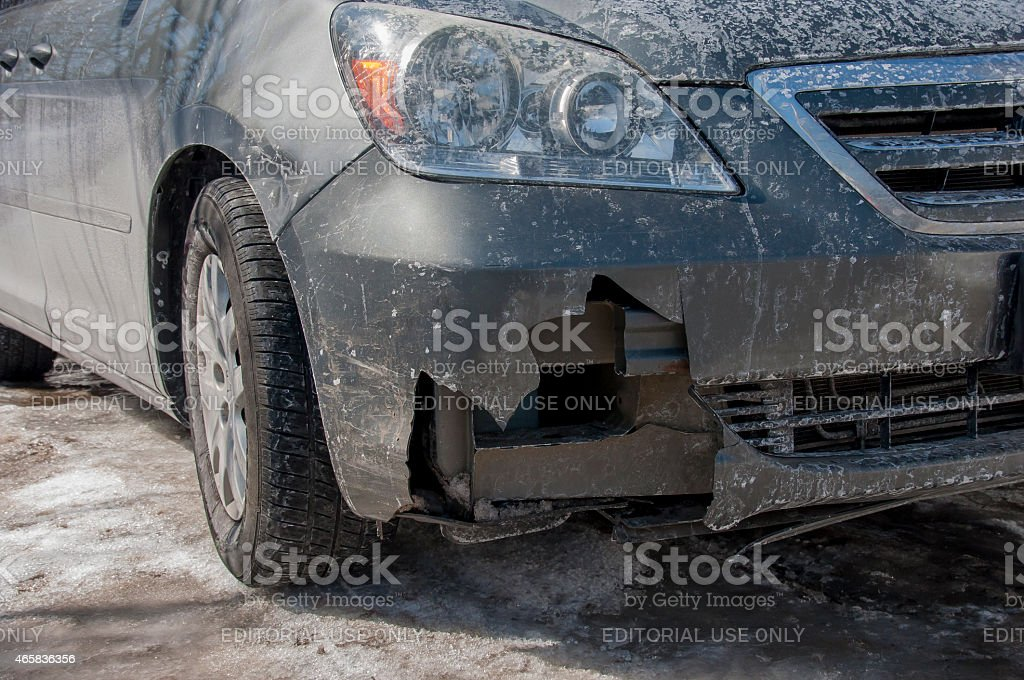 Winter Damage to Car Bumper stock photo