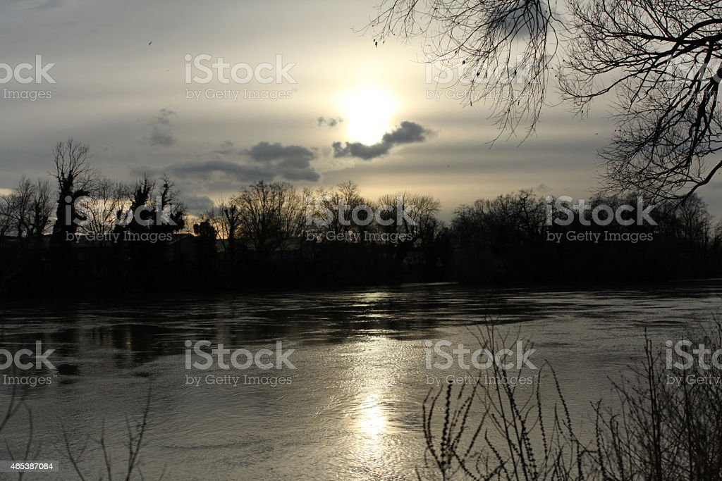 Winter dawn along the river stock photo