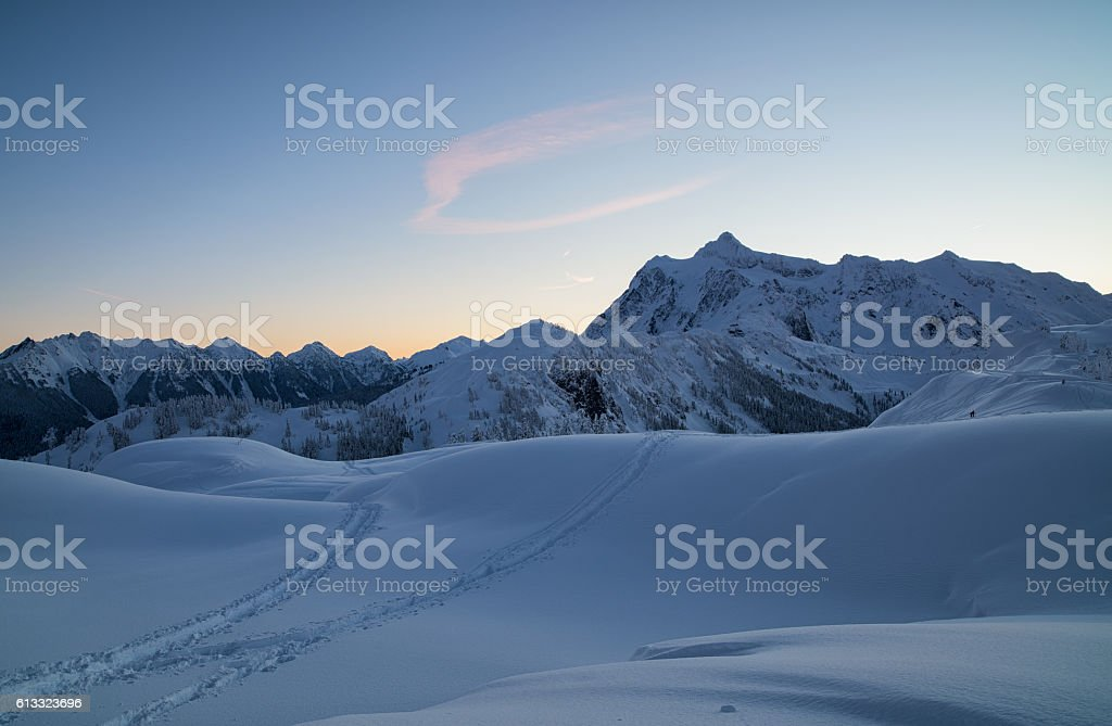 Winter Dawn North Cascades stock photo