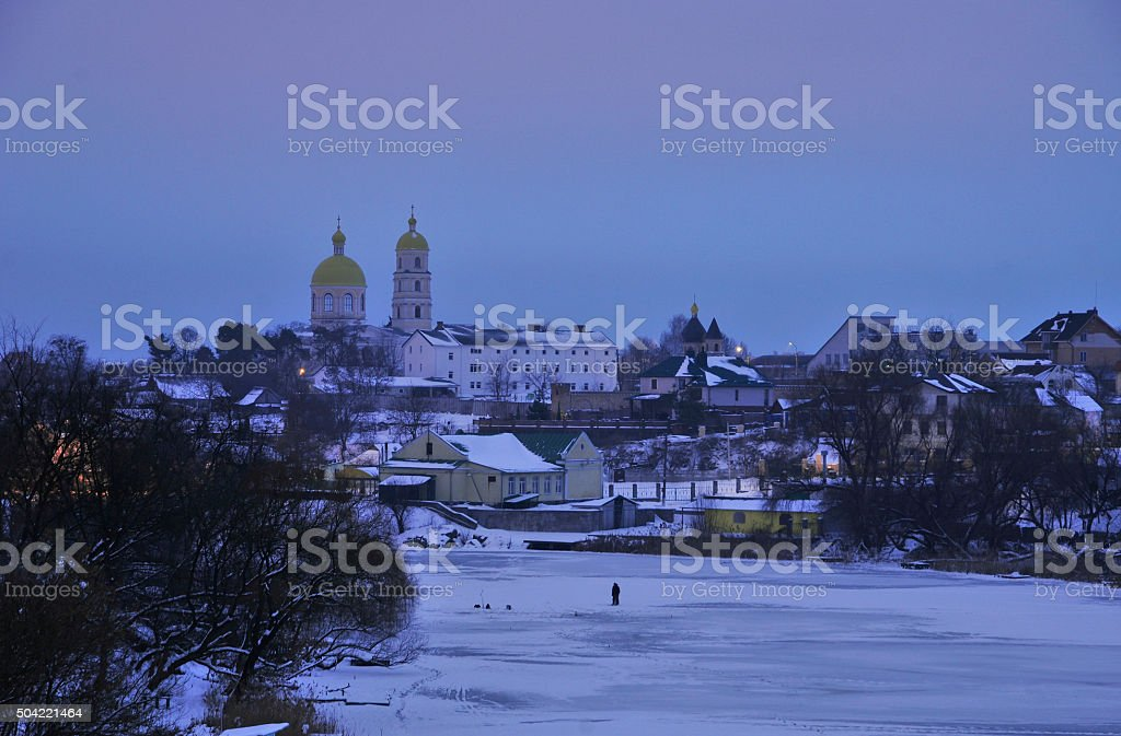 Winter dawn. Panorama of the river Ros. Bila Tserkva. Ukraine. stock photo