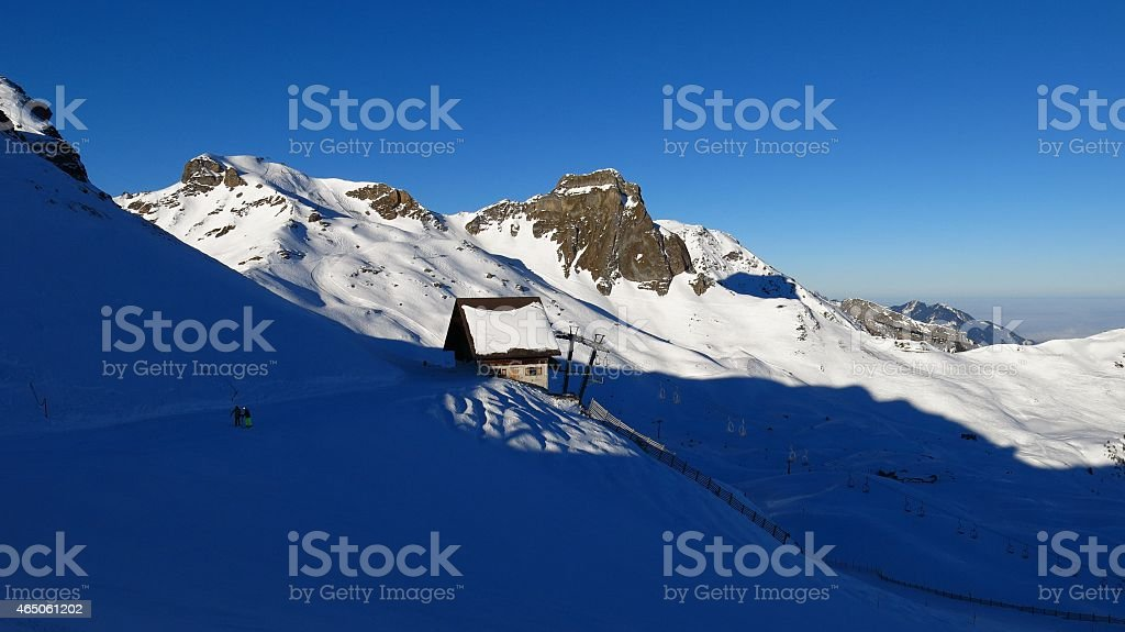 Winter day in the Flumserberg ski area stock photo