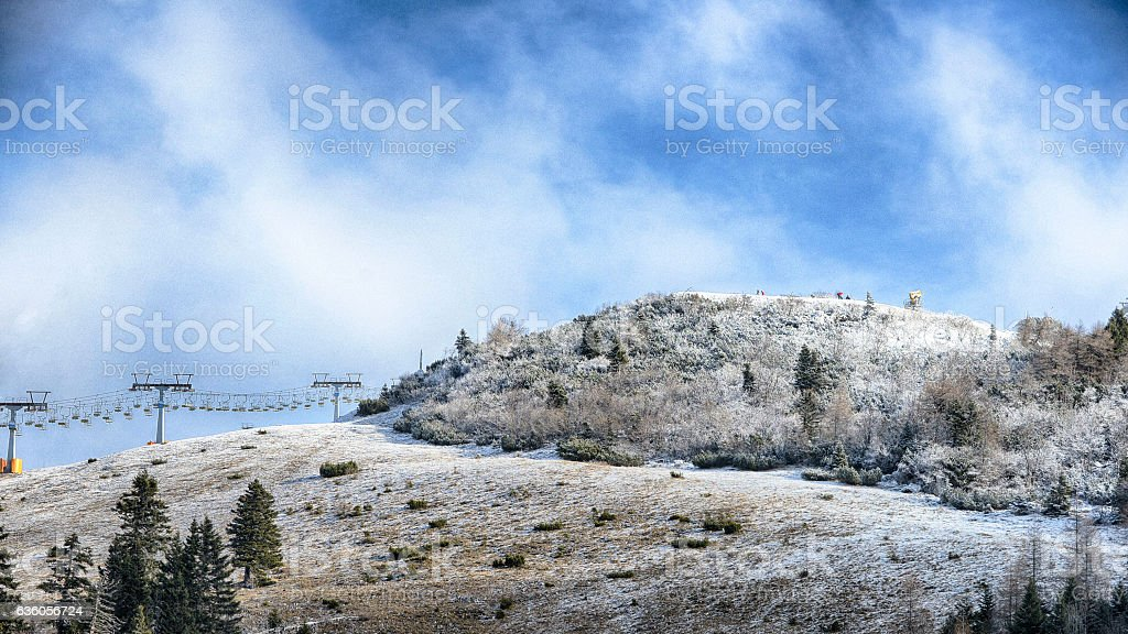 Winter day on Krvavec mountain stock photo