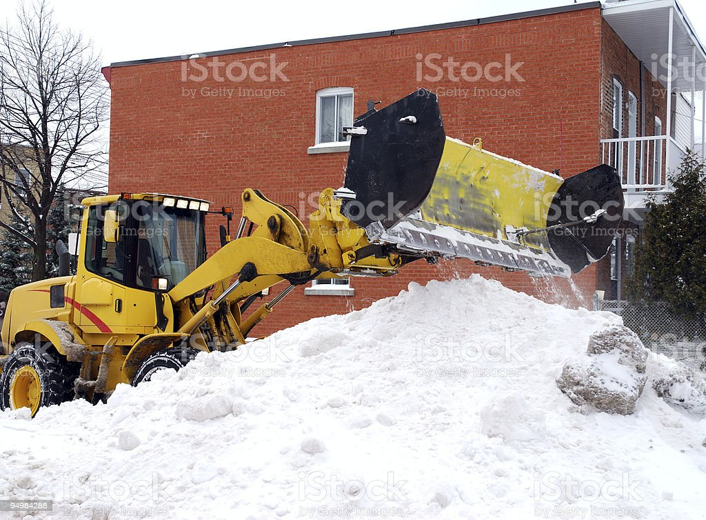 Winter day - snow plow in action royalty-free stock photo