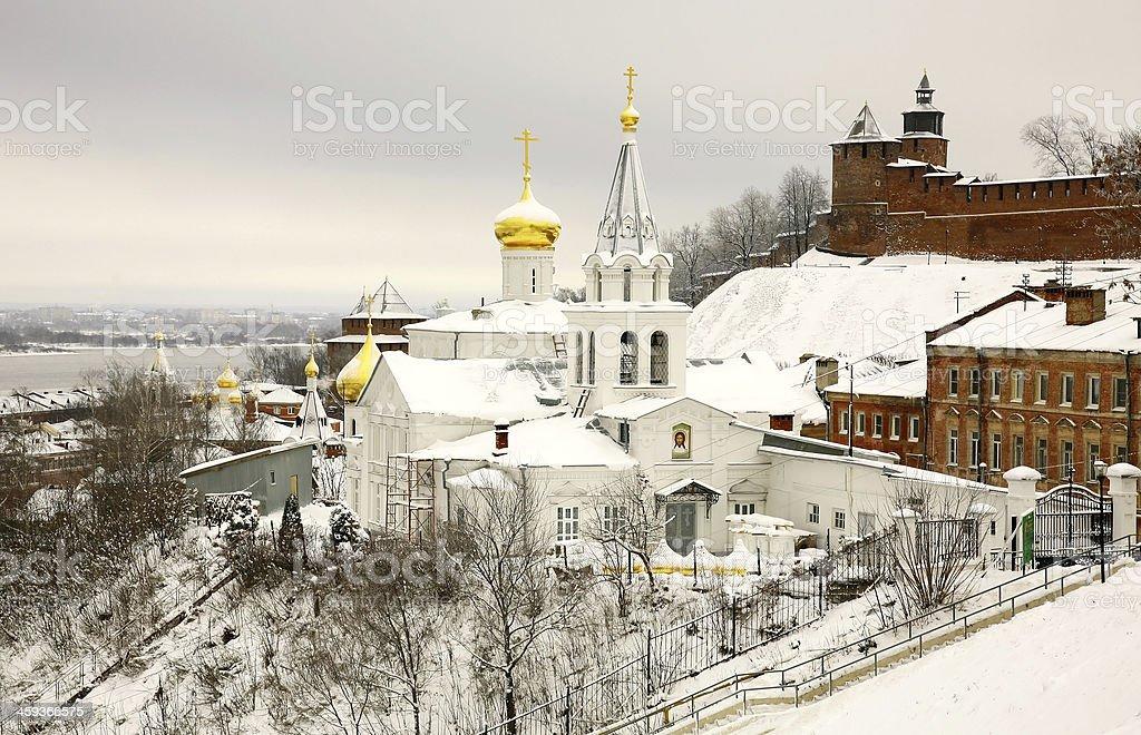 Winter december view Church Elijah the Prophet and Kremlin stock photo