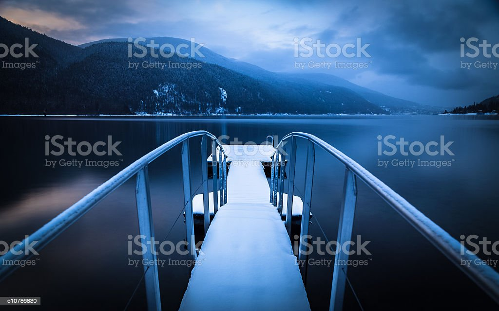 Winter Dock stock photo