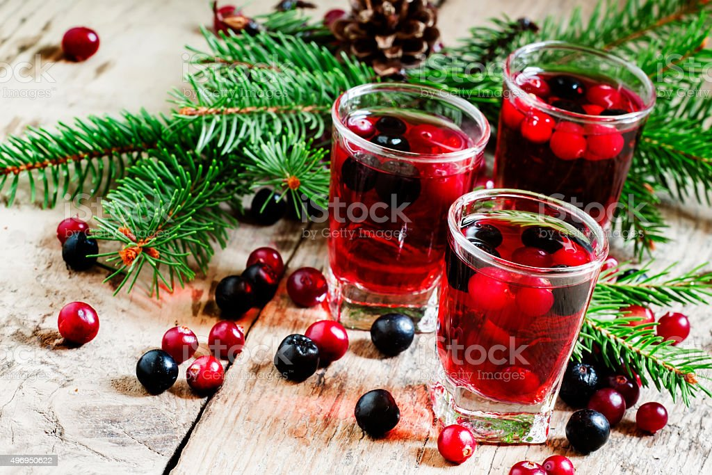 Winter drink with cranberry, cowberry stock photo