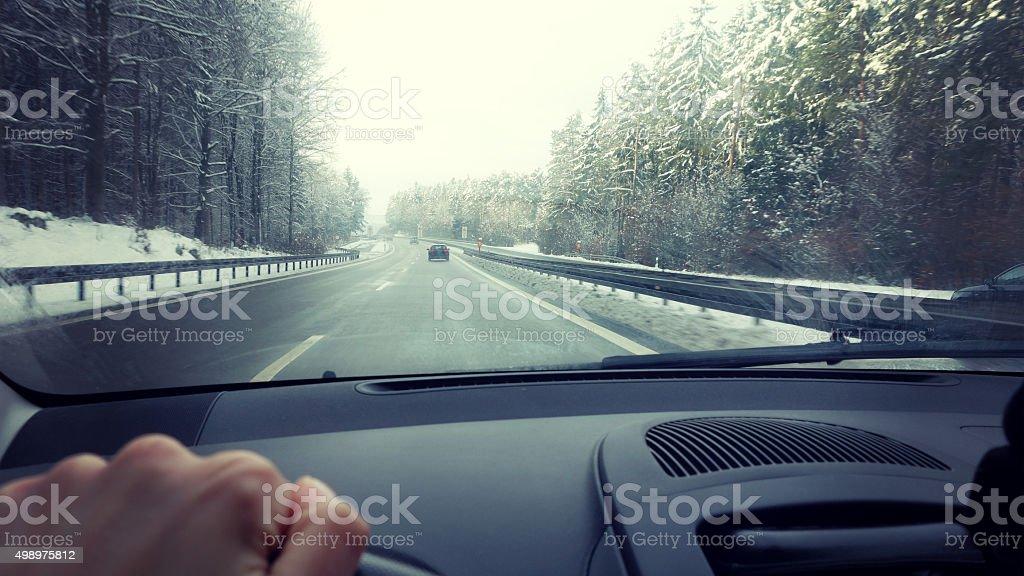 Winter drive stock photo