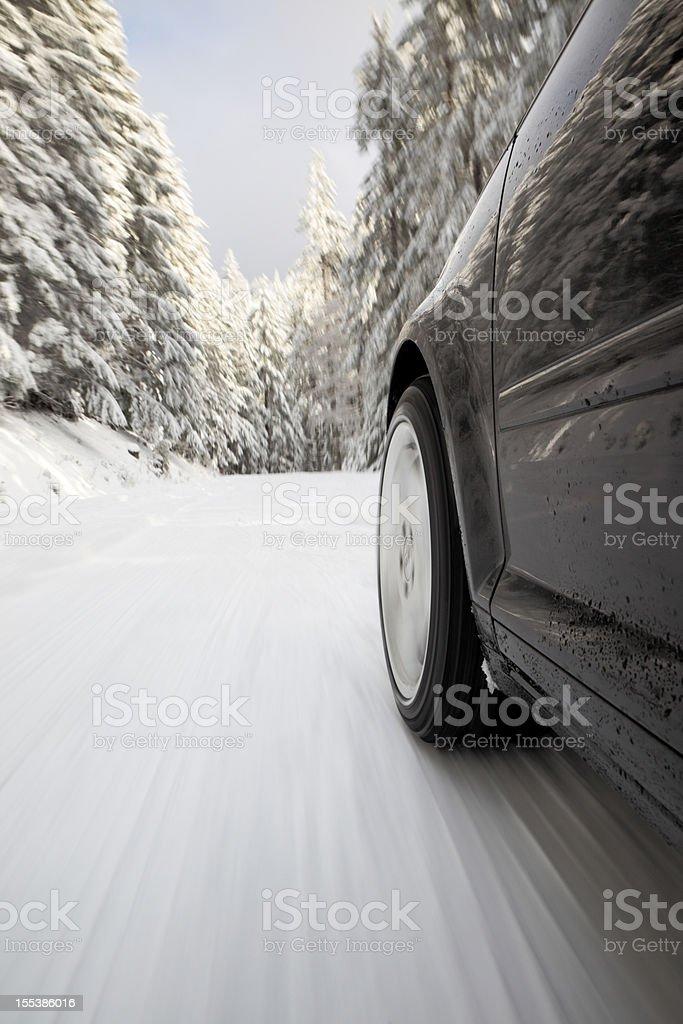 Winter Drive Snow. stock photo