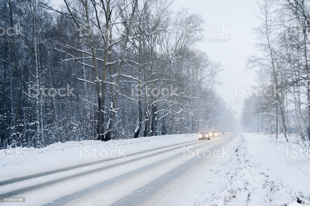 winter drive through the woods stock photo