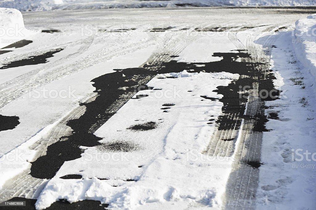 Winter Driveway Snow Tracks stock photo
