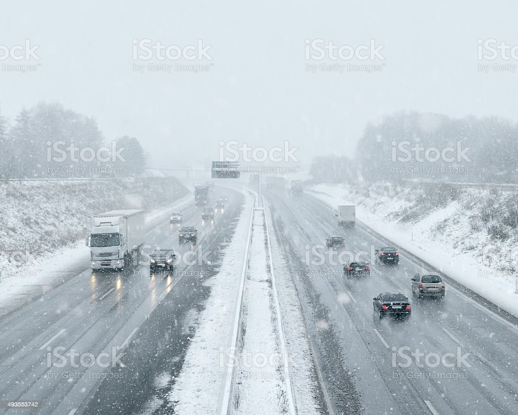 Winter Driving - Commuter Traffic stock photo