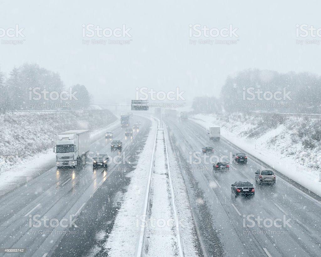 Winter Driving - Commuter Traffic stock photo