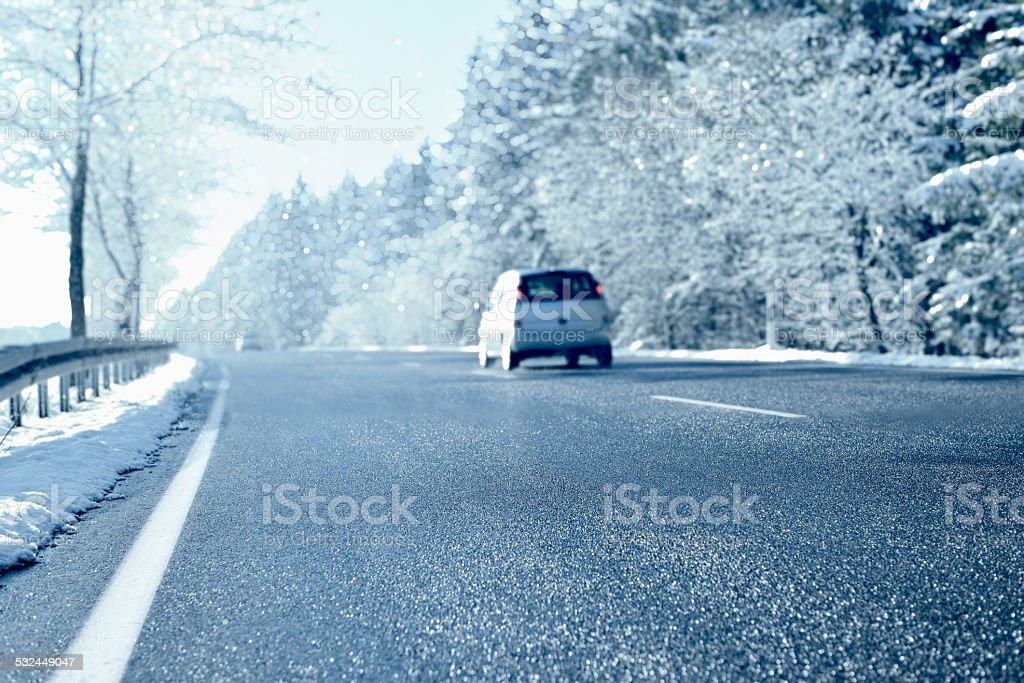 Winter Driving - Country Road stock photo