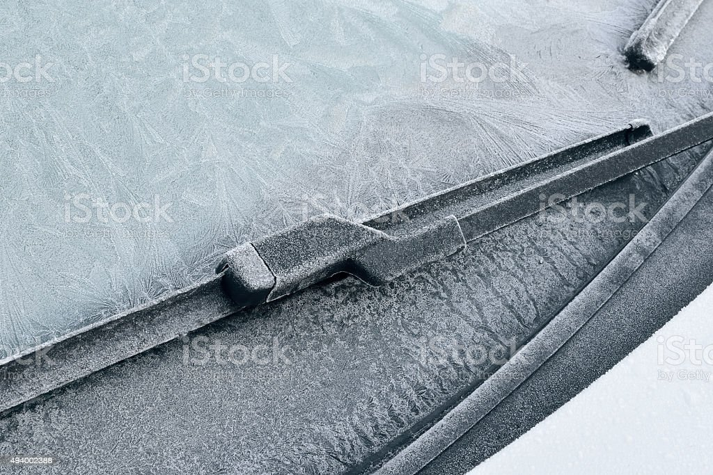 Winter Driving - Icy Windshield stock photo