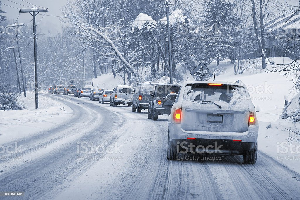 Winter Driving in Snow stock photo