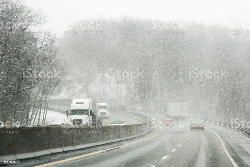 Winter Driving stock photo