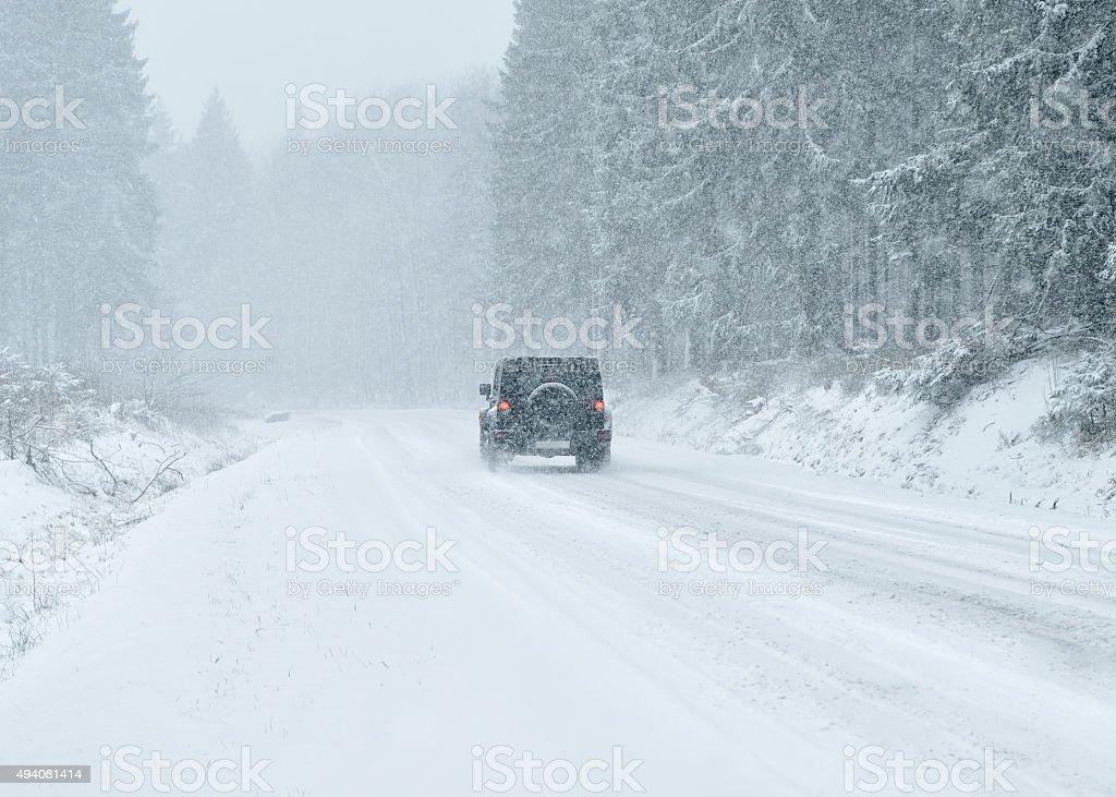 Winter Driving - Winter Road stock photo
