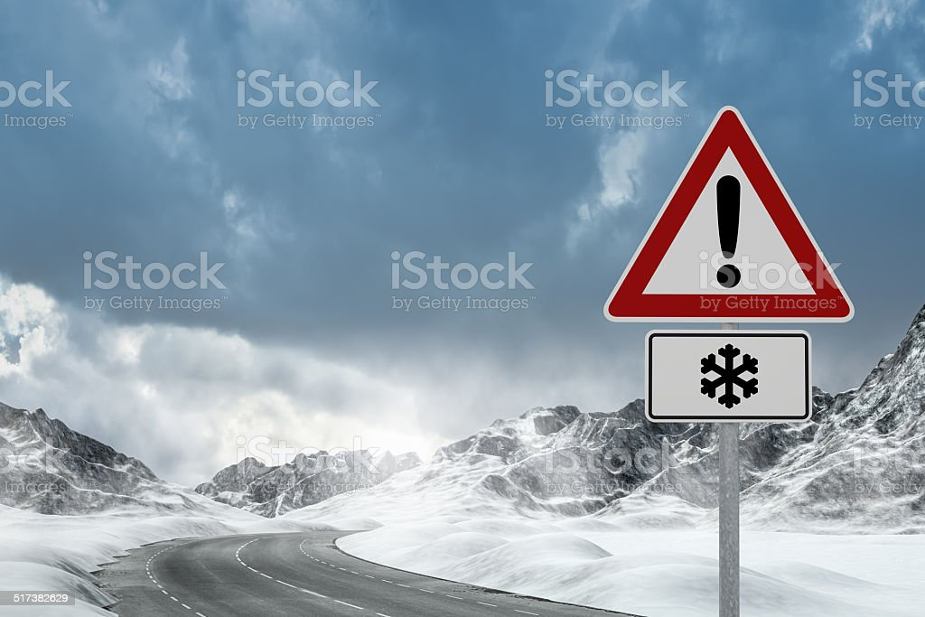 Winter Driving - Winter Road stock photo