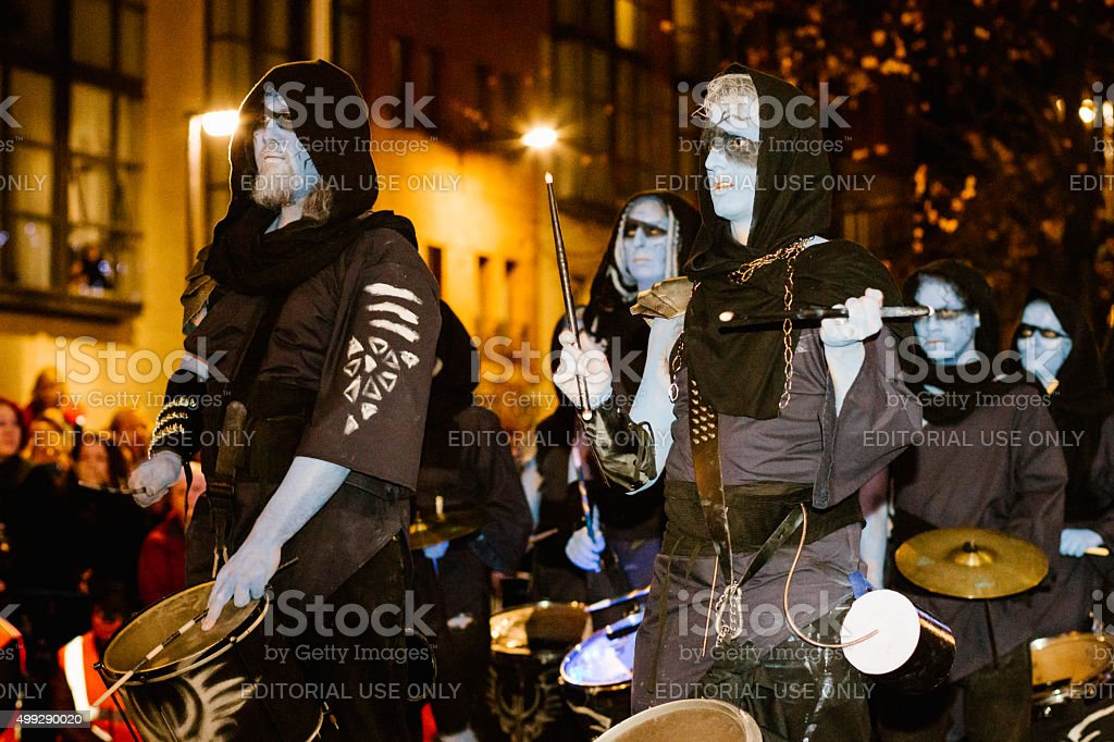 Winter Drummers at the Samhuinn Fire Festival, Edinburgh stock photo