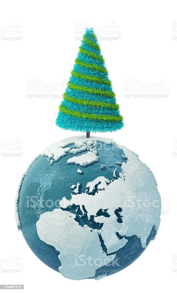 Winter Earth globe with Christmas Tree: Europe royalty-free stock photo