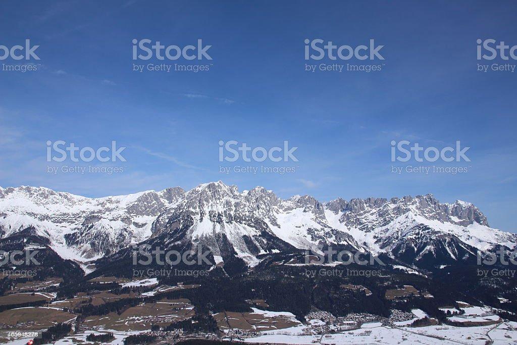 Winter Ellmau Hartkaiser mountain peak in Kitzb?hler Alpen, Austria stock photo