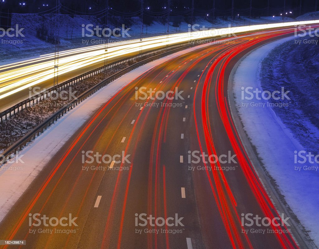 Winter evening Highway royalty-free stock photo