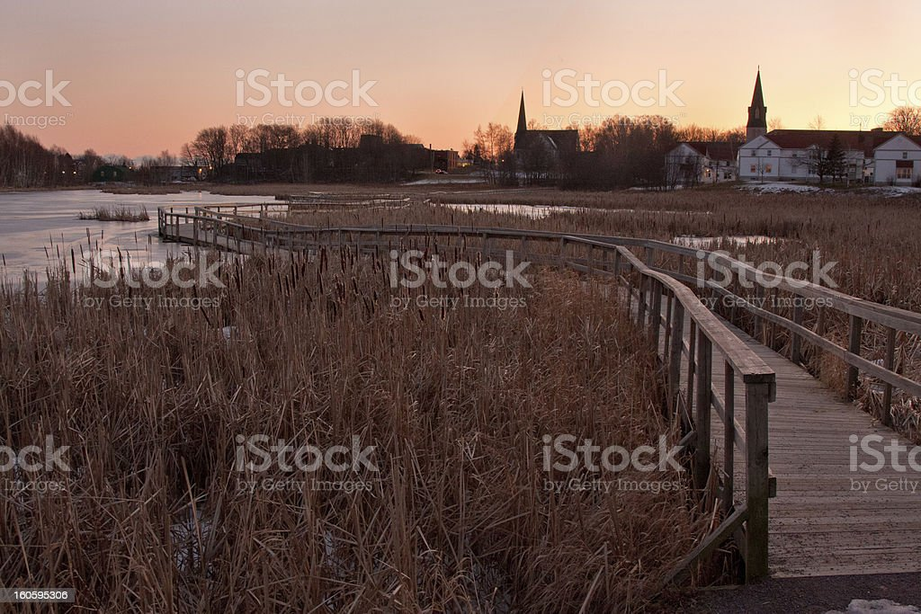 Winter evening in Canada royalty-free stock photo