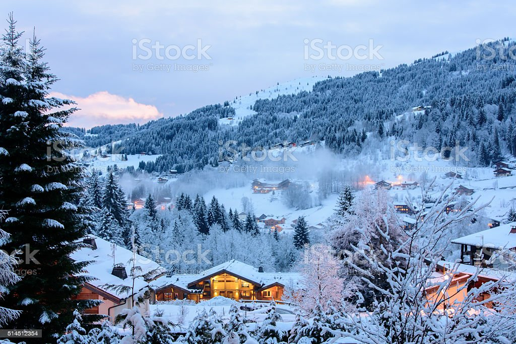 Winter evening in french alp valley stock photo