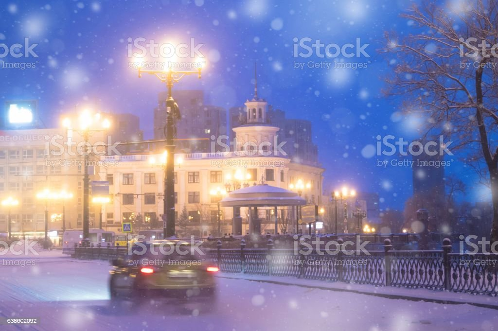 Winter evening in Khabarovsk. Far East, Russia. stock photo