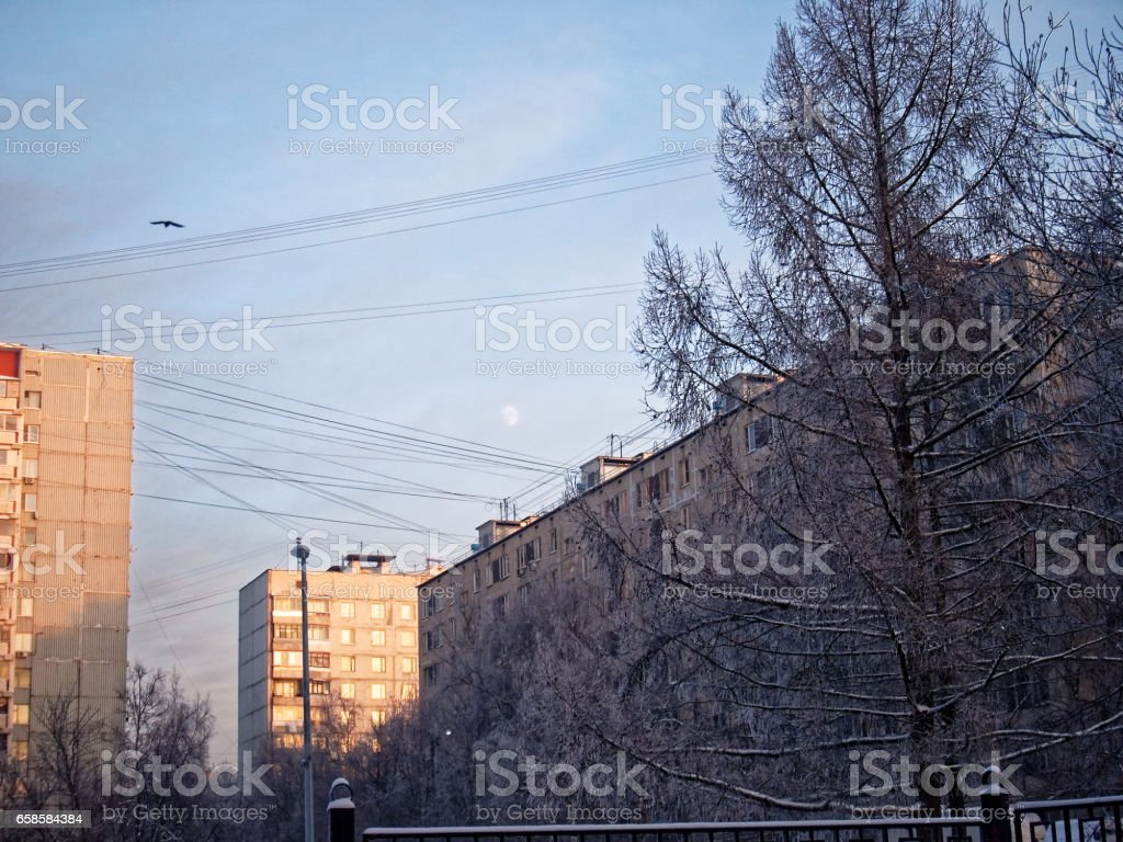 winter evening in Moscow stock photo