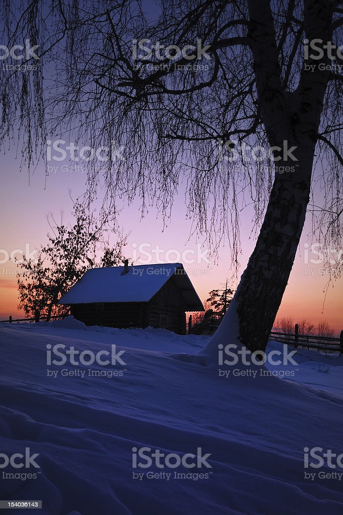 Winter evening in Russia royalty-free stock photo