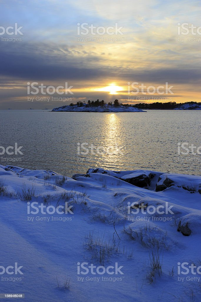 Winter evening seascape royalty-free stock photo