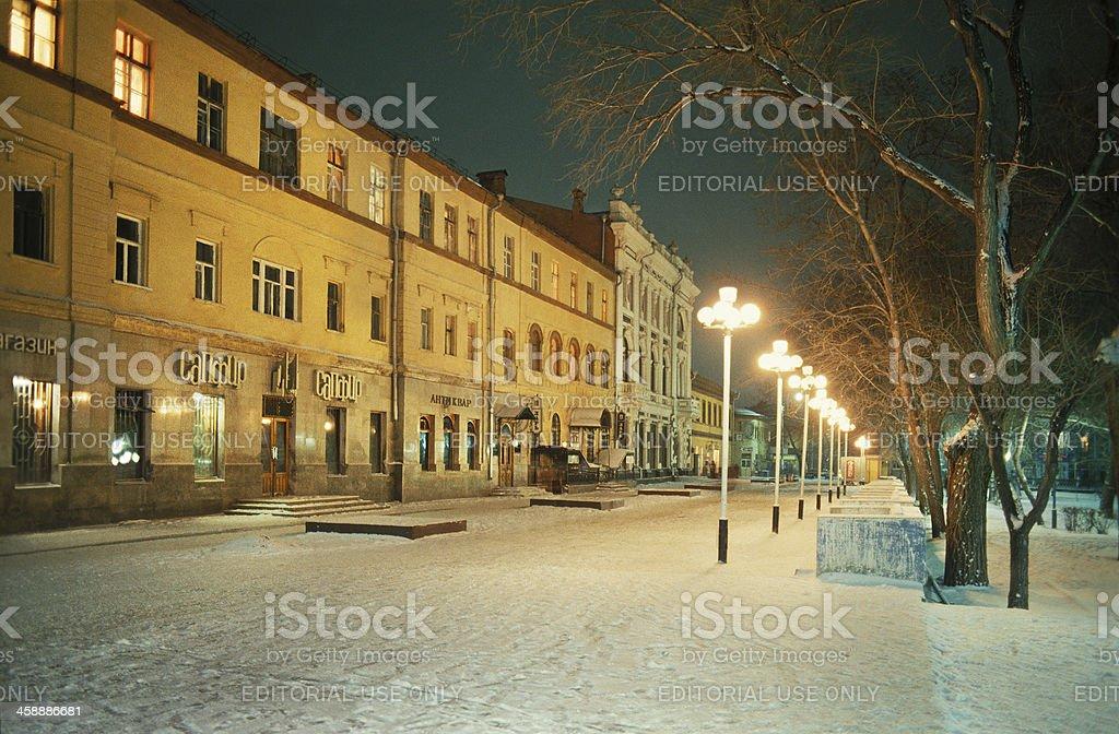 Winter. Evening. Street Akhmatovskaya. stock photo