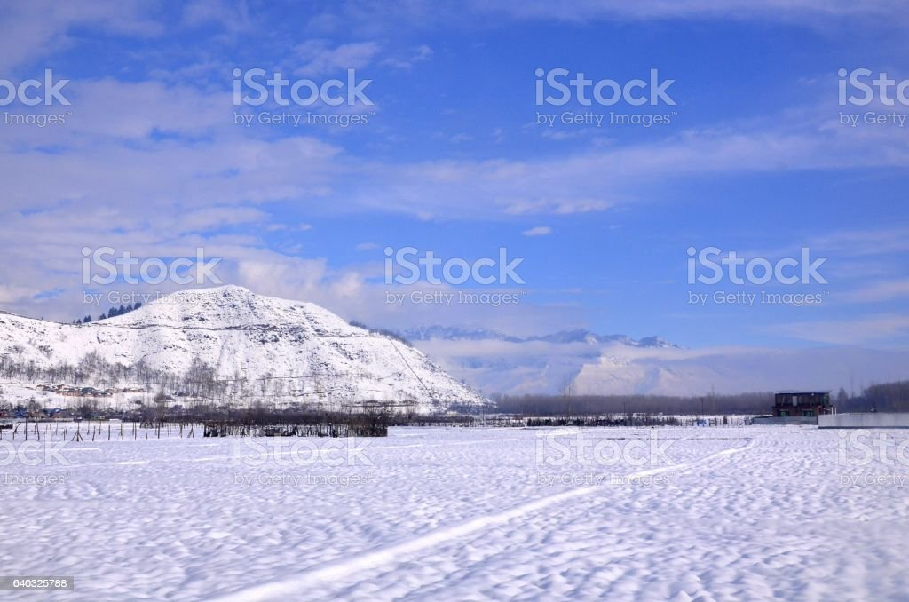Winter Evening view of Snow And mountains stock photo