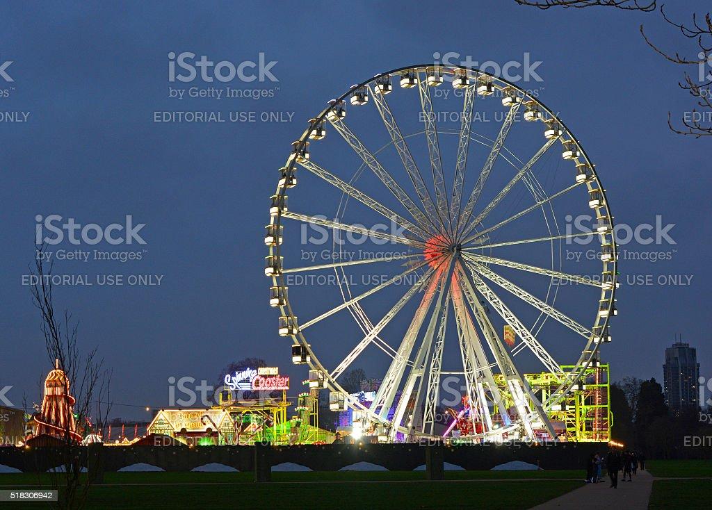 Winter Fairground in London, England stock photo