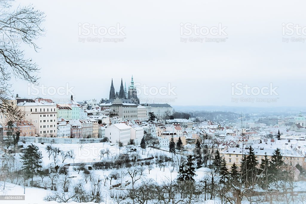 winter fairy tail at Prague. stock photo